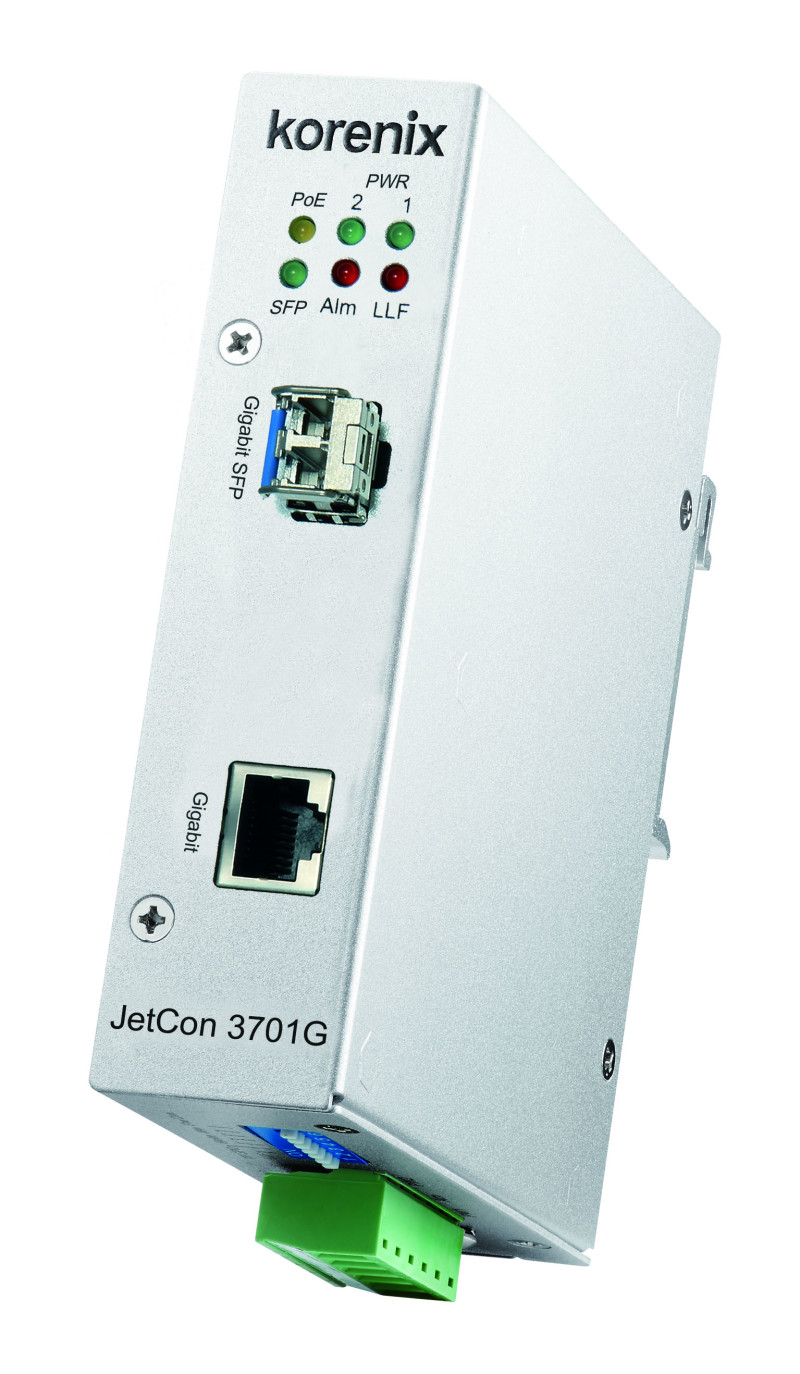 Korenix Launches New Industrial Gigabit PoE Media Converter-JetCon3701G