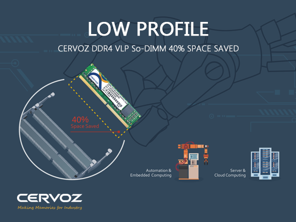 The Smallest Industrial Memory Module - Cervoz DDR4 Very Low Profile SO-DIMM