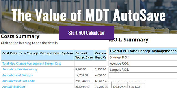 MDT Software Releases an Online Version of the AutoSave Return on Investment Calculator