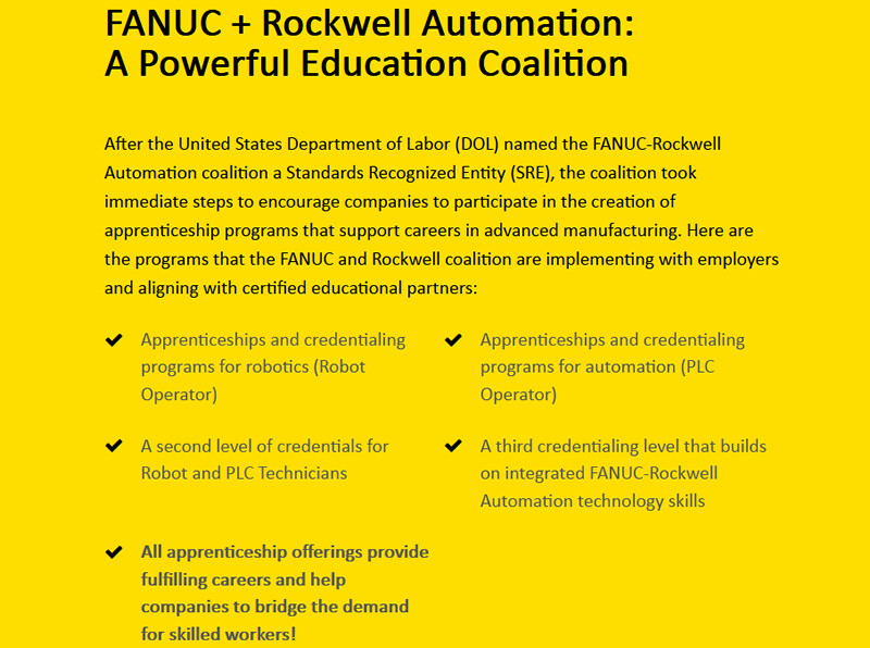 FANUC and Rockwell Automation Form Coalition to Quickly Address Manufacturing Skills Gap with Robotics and Automation Apprenticeship Programs