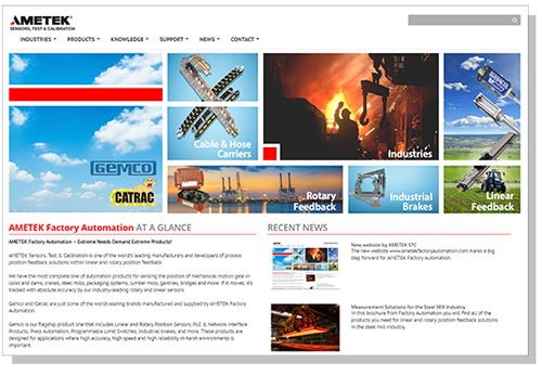 AMETEK Factory Automation Launches New Website