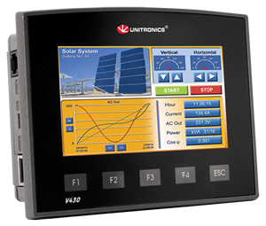 Meet the Unitronics Vision430: All-in-one PLC + HMI+ I/O with 4.3-inch Touchscreen
